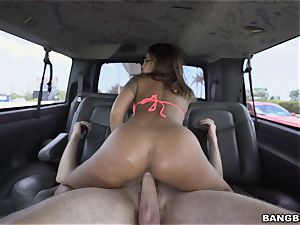 wondrous brunette picked up by the BangBus