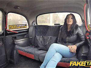 fake taxi steamy Latina with massive udders and rump