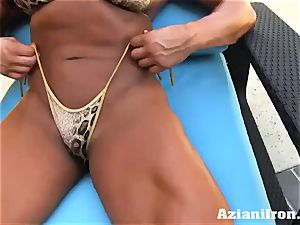 Amazon Amber Deluca undresses and playthings her moist fuck hole