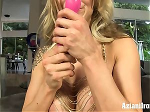 blonde ultra-cutie dildos her wet poon and blows a load rock hard