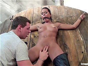 Mia strapped spread-eagle ball-gagged slowly stimulated to orgasm