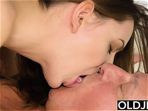 girl Vs older fellow - lean nubile taking gigantic facial cumshot
