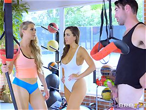 Nicole Aniston and Abigail Mac getting sweaty