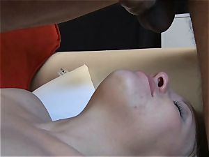small platinum-blonde hotwife flashes her blowage and deepthroat
