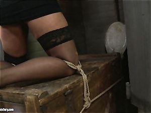 Kathia Nobili spanking a molten honey in public restroom