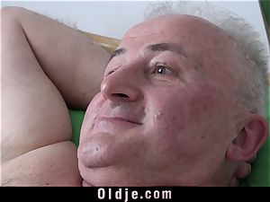huge-boobed youthful Nurse boning grandpa cumming In Her mouth