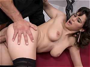 black-haired hottie's bosoms get humped