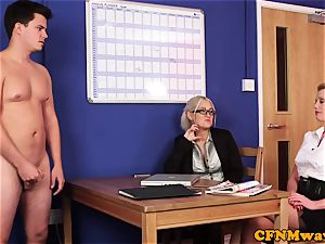 Dom CFNM honeys deepthroating and jacking in office
