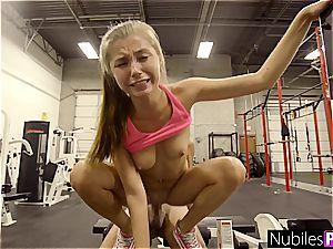 rock hard orgy in the gym with tasty platinum-blonde nubile Carolina