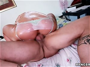 curvy platinum-blonde Phoenix Marie pounded from the rear