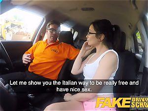 fake Driving college super hot Italian nymphomaniac minx