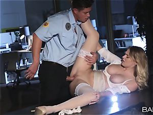 Natalia Starr torn up by the night security guard
