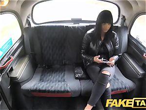 faux taxi appetizing warm brunette luvs Czech lollipop