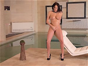 busty French milf thumbs Her wet slit