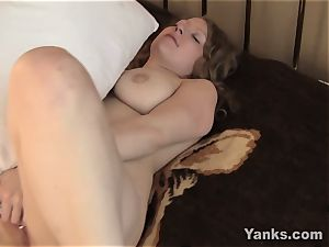 big-titted Emily romping A cushion
