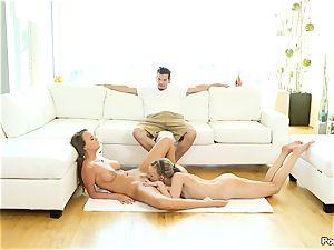 Alex Mae and Bree Mitchells enjoy an FFM threesome shag