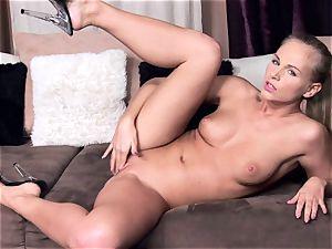 Tara rosy taking off her blue gorgeous undergarments